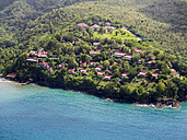 Caribbean, St. Lucia, aerial photo of luxury villas at Marigot Bay - AM002535