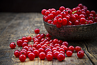 Bowl of red currants, Ribes rubrum, on dark wooden table - LVF001605