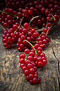Red currants, Ribes rubrum, on dark wooden table - LVF001616