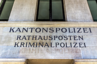 Switzerland, Zurich, part of facade of city hall with police departement - EJW000426