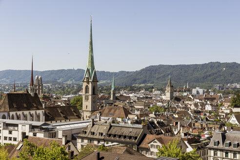 Switzerland, Zurich, view to cityscape with Frauenmuenster - EJWF000436