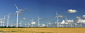 Germany, Saxony-Anhalt, Onshore wind farm on the field - LYF000184