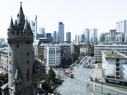 Germany, Hesse, Frankfurt, Eschenheim Tower, Financial district in the background - AM002554