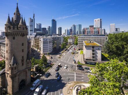 Germany, Hesse, Frankfurt, Eschenheim Tower, Financial district in the background - AMF002559