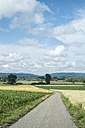 Germany,  Baden-Wuerttemberg, Constance district, view to landscape with agricultural road - ELF001193