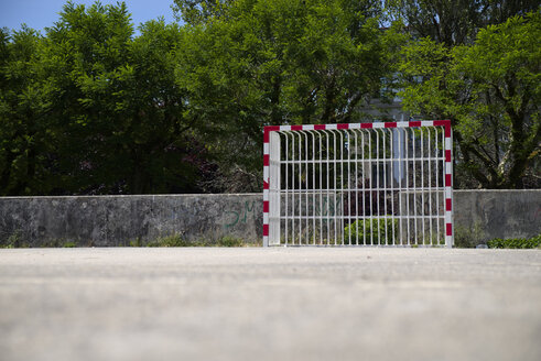 Spain, soccer goal at football ground - LAF000903