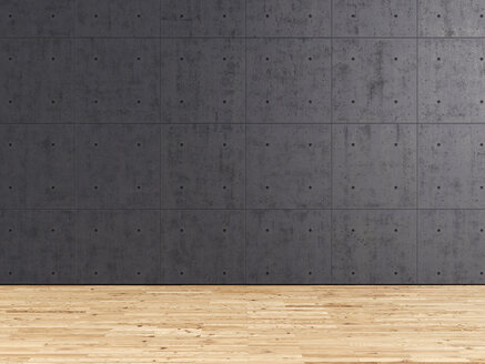 3d Rendering, concrete wall and larch wood floor - UWF000131