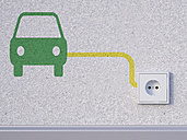 3D Rendering, car symbol next to socket in wall - UWF000137