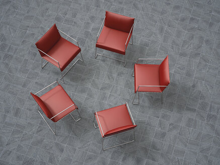 3D Rendering, five red chairs in a circle - UWF000140