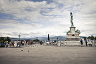 Italy, Tuscany, Florence, view to Bronze-copy of 'David' at Piazzale Michelangelo - SBDF001043