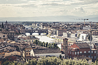 Italy, Tuscany, Florence, Ponte Vecchio  and Piazzale Michelangelo - SBDF001093