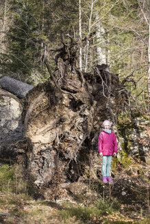 Smiling little girl standing besides the root ball of an upset tree - STB000198