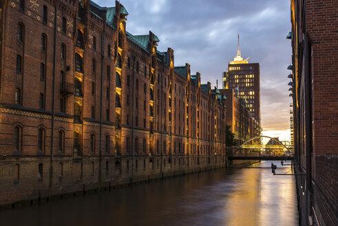 Germany, Hamburg, Old warehouse district, Sunset - MKFF000028