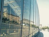 France, Strasbourg, reflection in glass building at central station - MEM000327