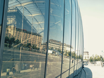 France, Strasbourg, reflection in glass building at central station - MEM000327