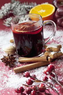 Glass of mulled wine with slice of orange - CSF022006