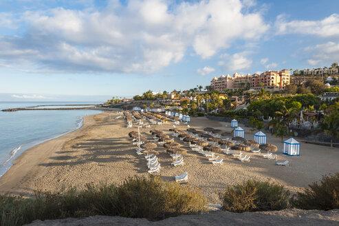 Spain, Canary Islands, Tenerife, Costa Adeje, Playa Del Duque in the morning - RJF000241