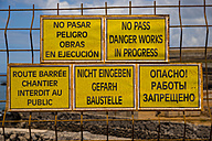 Spain, Tenerife, five construction site signs in different languages with spelling mistakes - WGF000363