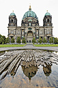Germany, Berlin, Berlin Cathedral reflecting in water of fountain - MEMF000341