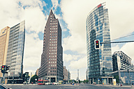 Germany, Berlin, high-rise buildings of Renzo Piano, Hans Kollhoffand Deutsche Bahn Tower at Potsdam Square - MEMF000329
