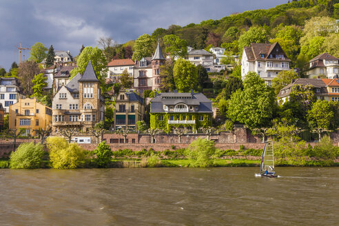 Germany, Baden-Wuerttemberg, Heidelberg, view to mansion district at waterside of Neckar River - WD002540