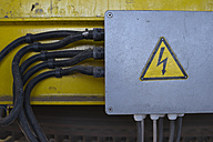 Germany, Baden-Wurttemberg, incinerator TREA Breisgau, cables and high voltage sign - LAF000983
