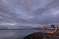 Island, Reykjavik, modern sculpture formed like a viking boat at twilight - FC000339