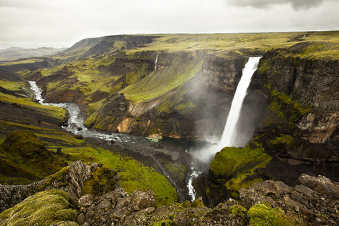 Iceland, view to landscape with waterfall Haifoss - FCF000372