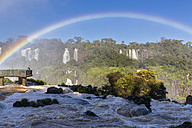 South America, Brazil, Parana, Iguazu National Park, Iguazu Falls, Rainbow, Tourist on viewing platform - FO006674