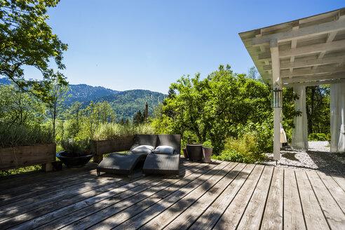 Wooden terrace in sunlight - TCF004192