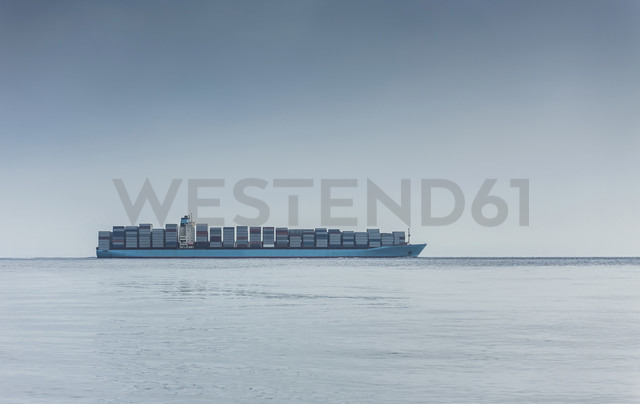 Spain, Andalusia, Tarifa, Strait of Gibraltar, Container ship - KBF000090