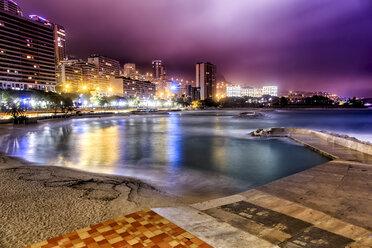 Monaco, Monte Carlo, Larvotto Beach at night - DAW000095