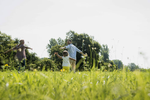 Parents and little daughter having fun on a meadow - UUF001530