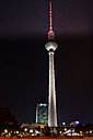 Germany, Berlin, Mitte, Berlin TV Tower at Alexanderplatz at night - MKFF000066