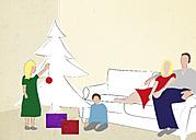 Family at Christmas tree, illustration - CMF000151