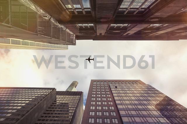 Germany, Hesse, Frankfurt, Old and new high-rise buildings, Aeroplane - ZMF000332