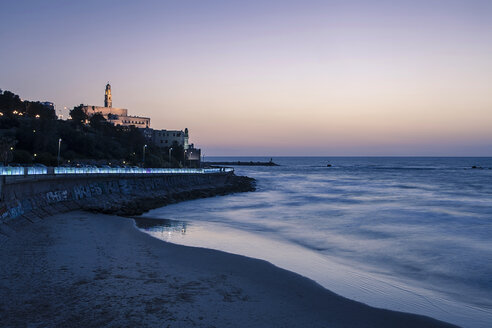 Israel, Tel Aviv-Jaffa, St. Peter's Church and beach, Blue hour - GCF000021