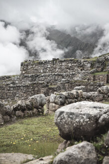 South America, Peru, View of Chinchero, Stonewalls - KRPF000708