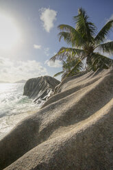 Seychelles, La Digue Island, Anse Source D'Argent, Rocks at beach - KRPF000731