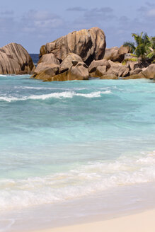 Seychelles, View of the Anse Cocos beach at La Digue Island - KRPF000744