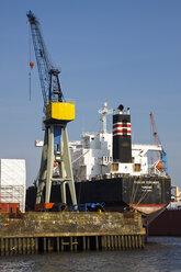 Germany, Hamburg, Port of Hamburg, Cargo vessel and harbour crane - KRP000988