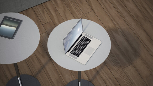 Two tables with laptop and digital tablet, 3D Rendering - UW000152