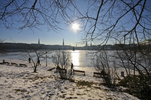 Germany, Hamburg, View of the frozen Binnenalster Lake - KRPF000832