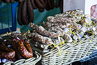 Norway, Alesund, sausages on market - NG000140