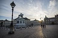 Denmark, Copenhagen, Amalienborg Castle, Equestrian statue of Frederick V of Denmark - PAF000753