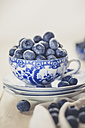 Blueberries in and around tea cup - SBDF001183