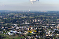 Germany, Aachen, aerial view of the city with power plant and stadium - HLF000640