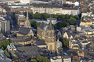 Germany, North Rhine-Westphalia, Aachen, Aerial view of the city center with Aachen Cathedral - HLF000647