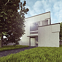 View to modern detached one-family house, 3D Rendering - UWF000157