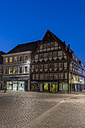 Germany, Lower Saxony, Hameln, timber-framed house in the evening - PVC000077